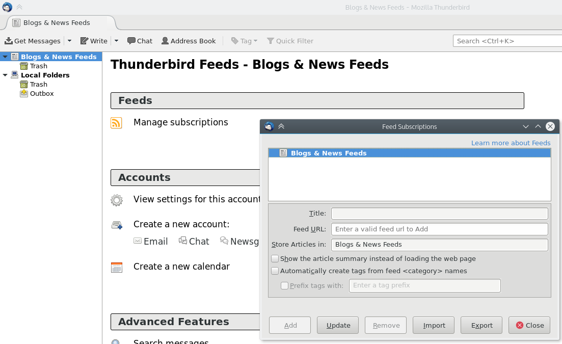 Thunderbird Manage Subscriptions